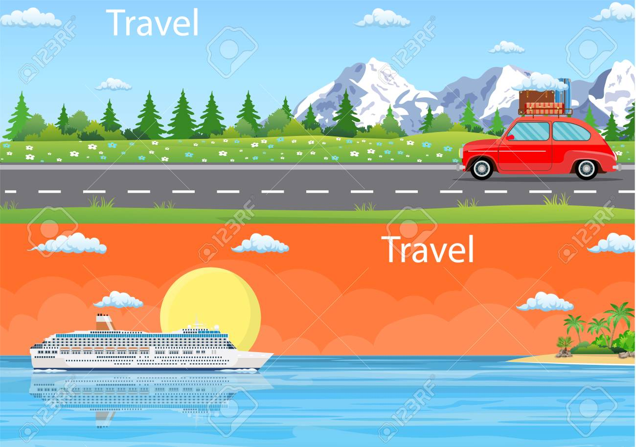 Travel Web Banner Car Drive Road Cruise Ship Liner Tropical Royalty Free Cliparts Vectors And Stock Illustration Image 100218625