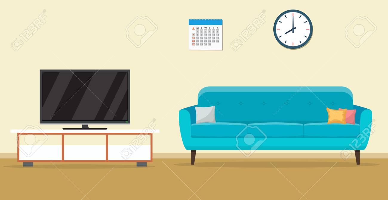 Living Room Interior Design With Furniture Sofa Tv Clock Vector Royalty Free Cliparts Vectors And Stock Illustration Image 112048257