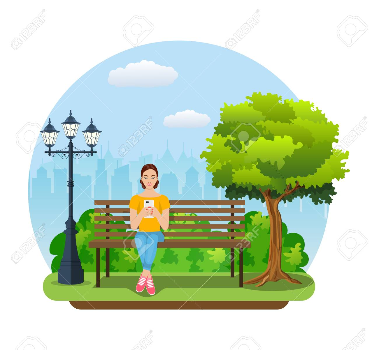 Incredible Woman Whis Smartphone Sitting On Wooden Bench In The Park Woman Ocoug Best Dining Table And Chair Ideas Images Ocougorg