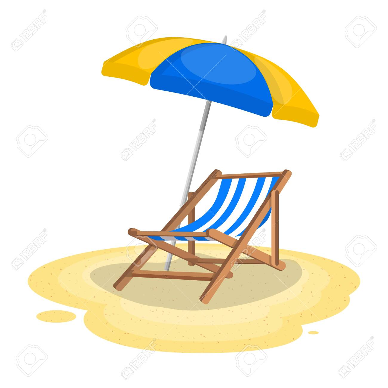 Umbrella and sun lounger on the beach. Vector illustration in flat style - 123779811