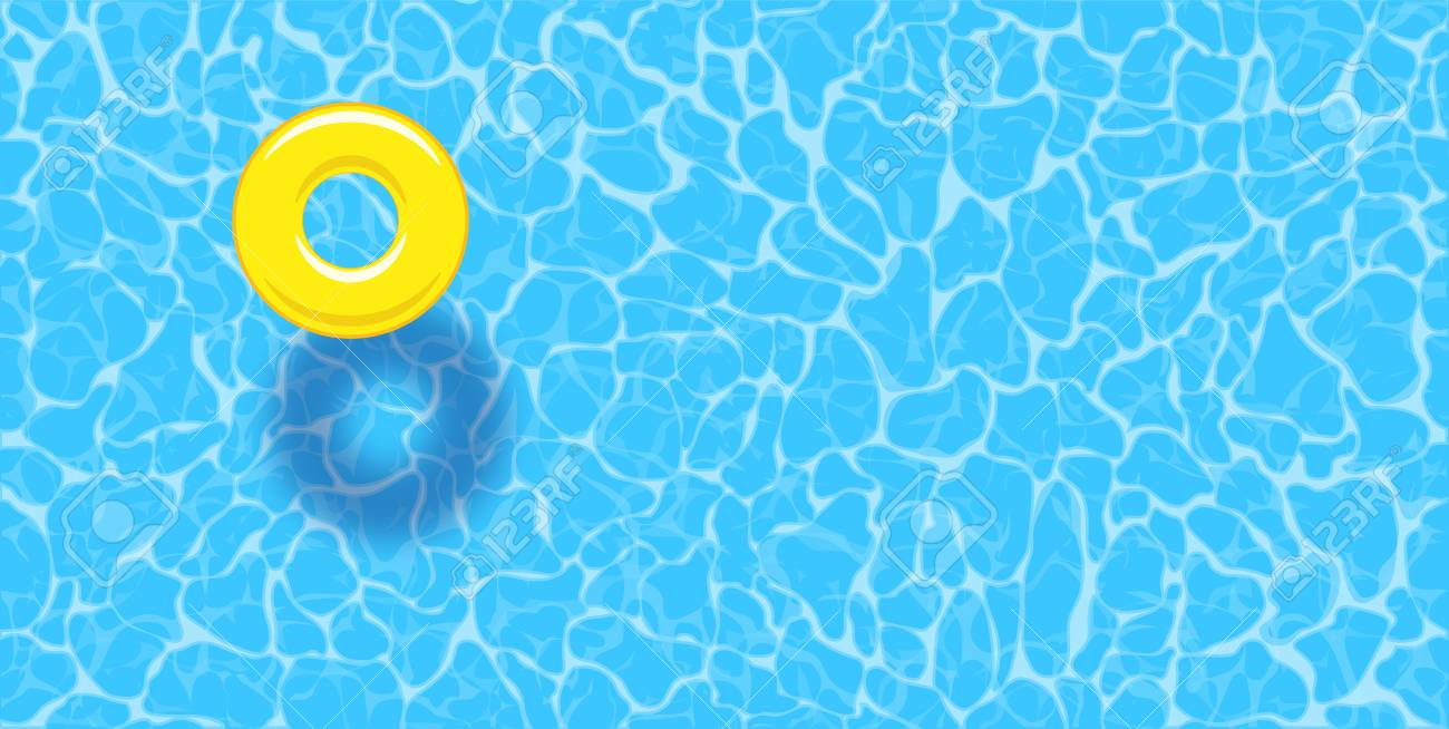 Water pool summer background with yellow pool float ring. Colorful vector poster template for summer holiday. Hello summer web banner. Vector illustration in flat style - 123621463