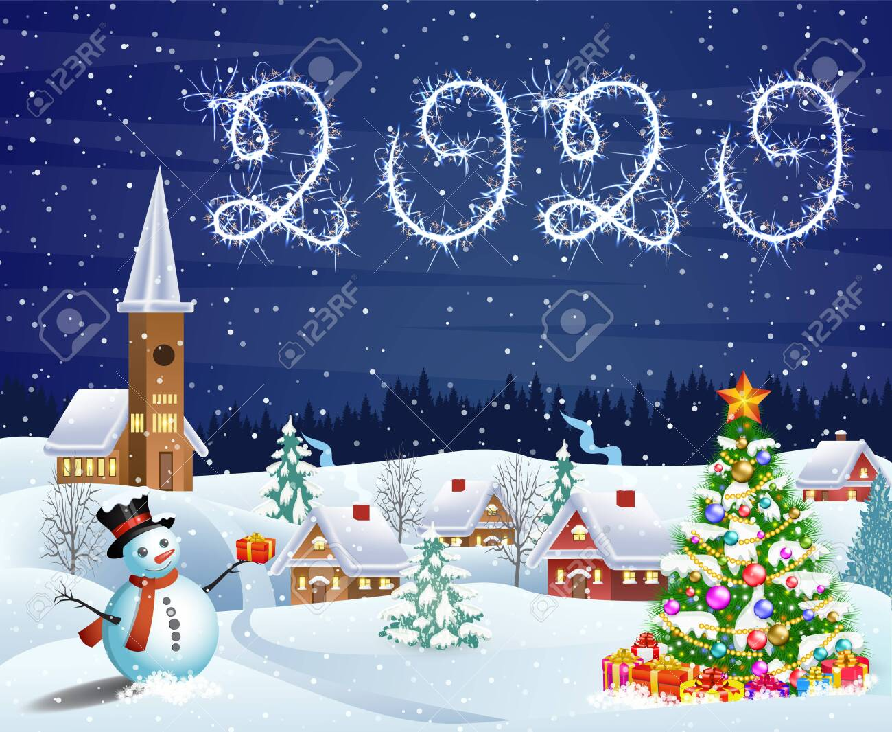 house in snowy Christmas landscape at night - 133738967