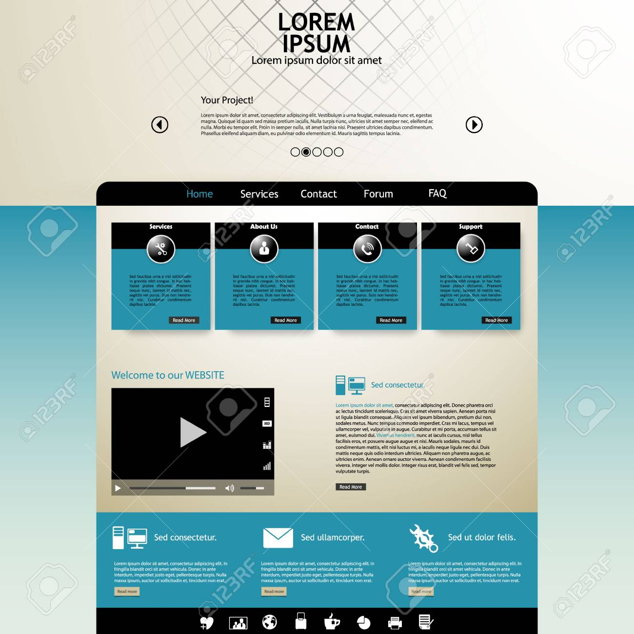 vintage colored website template royalty free cliparts vectors and