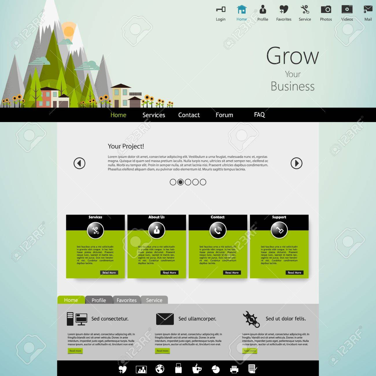 Modern Eco Website Template With Flat Eco Landscape Illustration ...