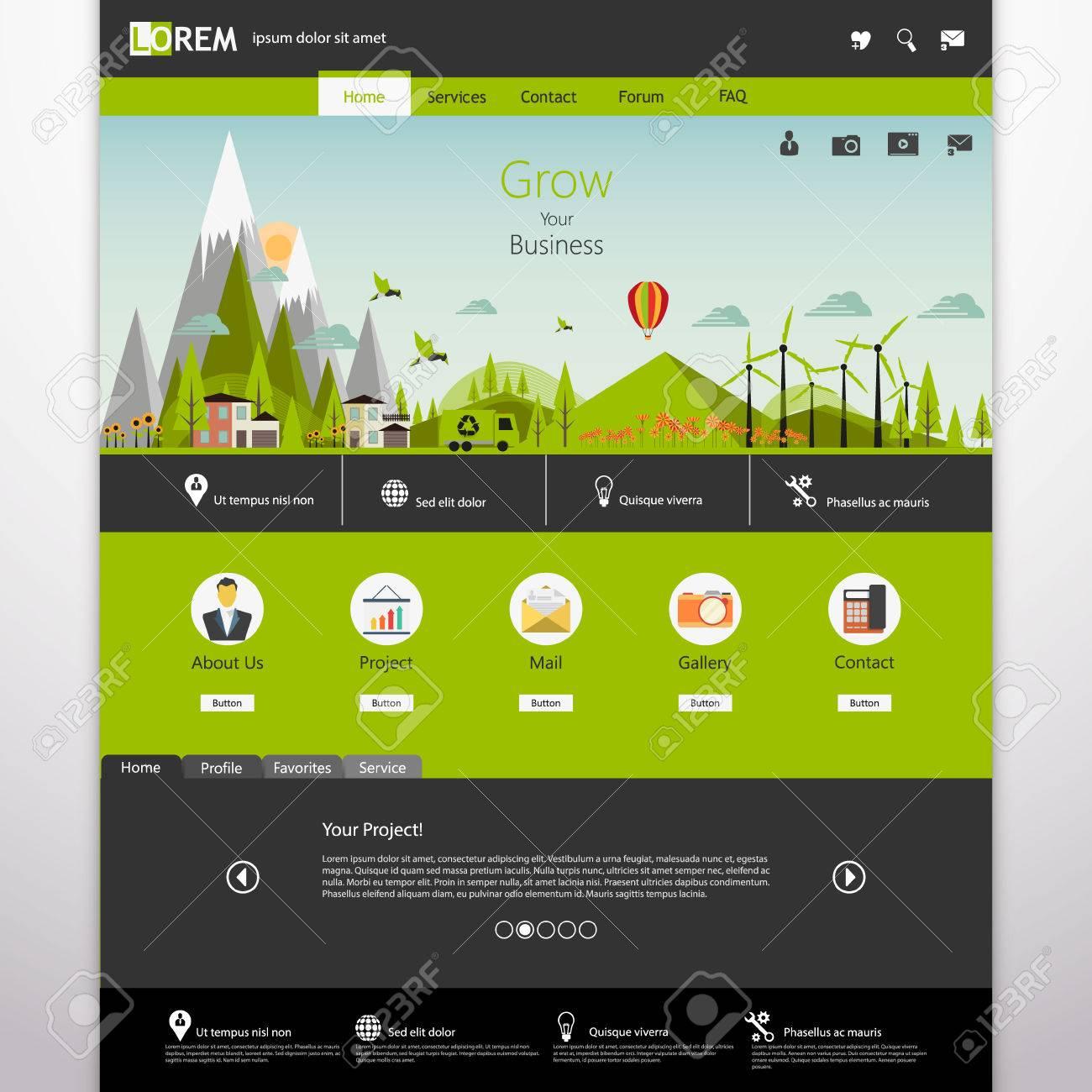 Illustrator Website Template. professional website template vector ...