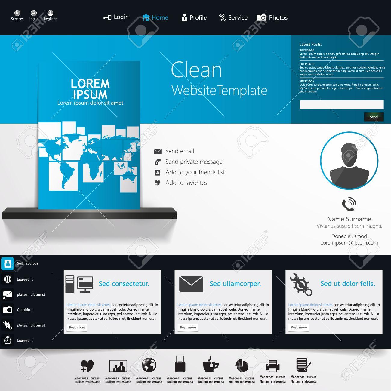 83bf3c2257edd Foto de archivo - Plantilla de sitio Web de negocios azul - diseño de  página de inicio - limpia y simple - con un espacio para un texto