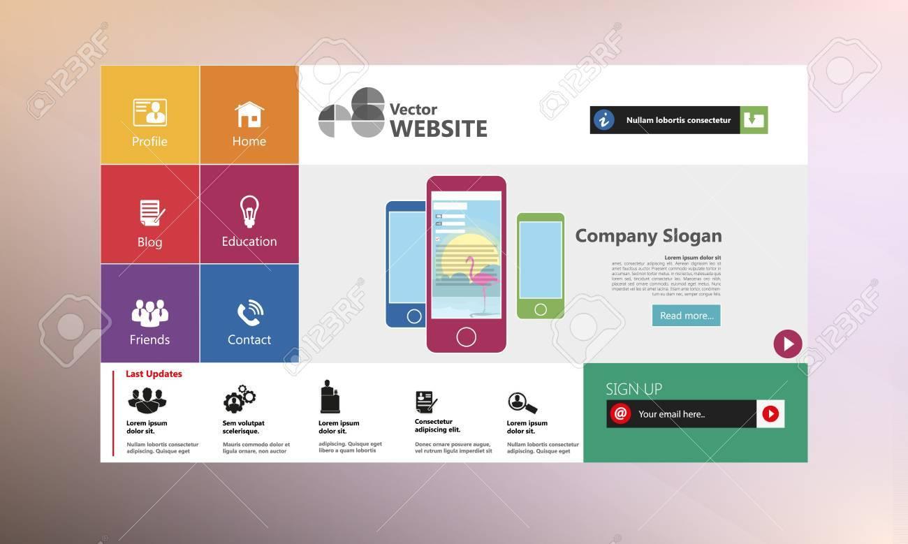 Flache Web-Design-Vorlagen Für Die Website. Lizenzfrei Nutzbare ...