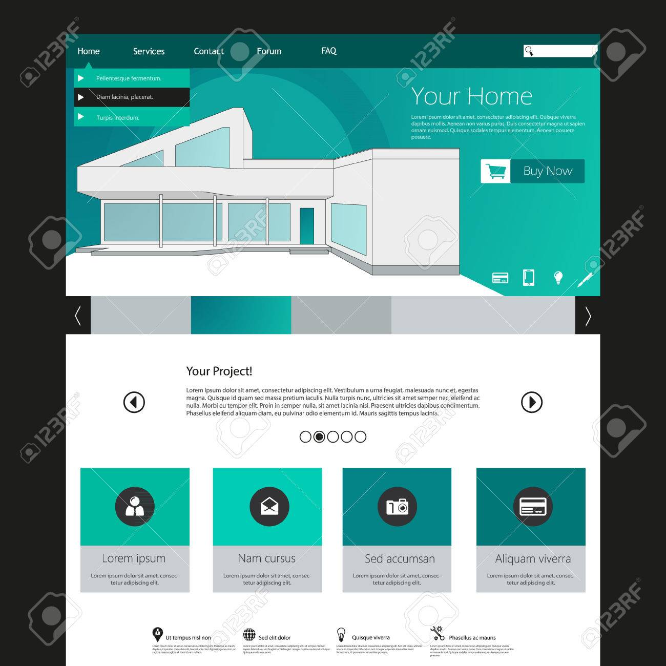 Flat Web Design Elements. Templates For Website. With Minimalistic ...