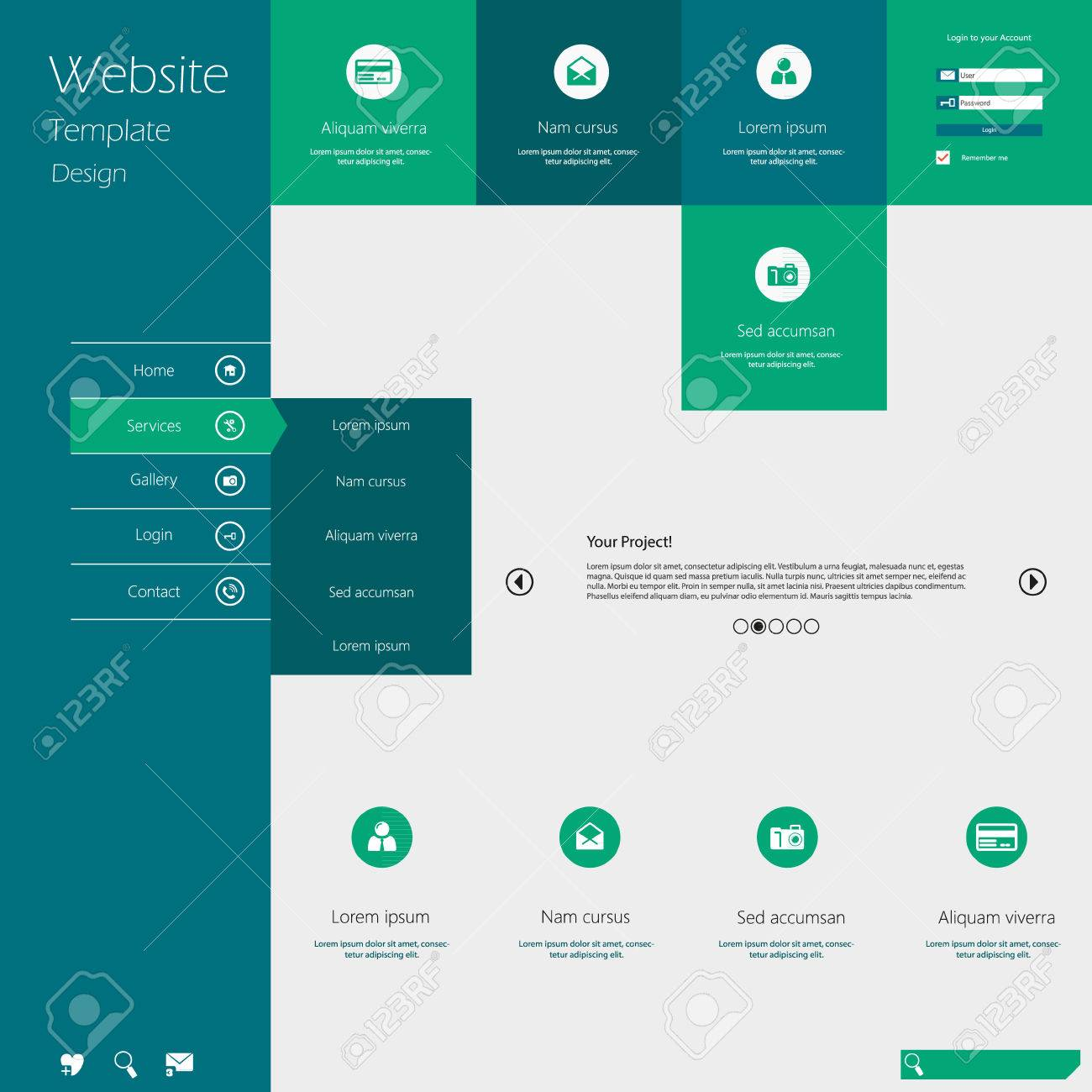 Flat Design Of The Menu For A Website Creative Web Design Royalty Free Cliparts Vectors And Stock Illustration Image 35593926