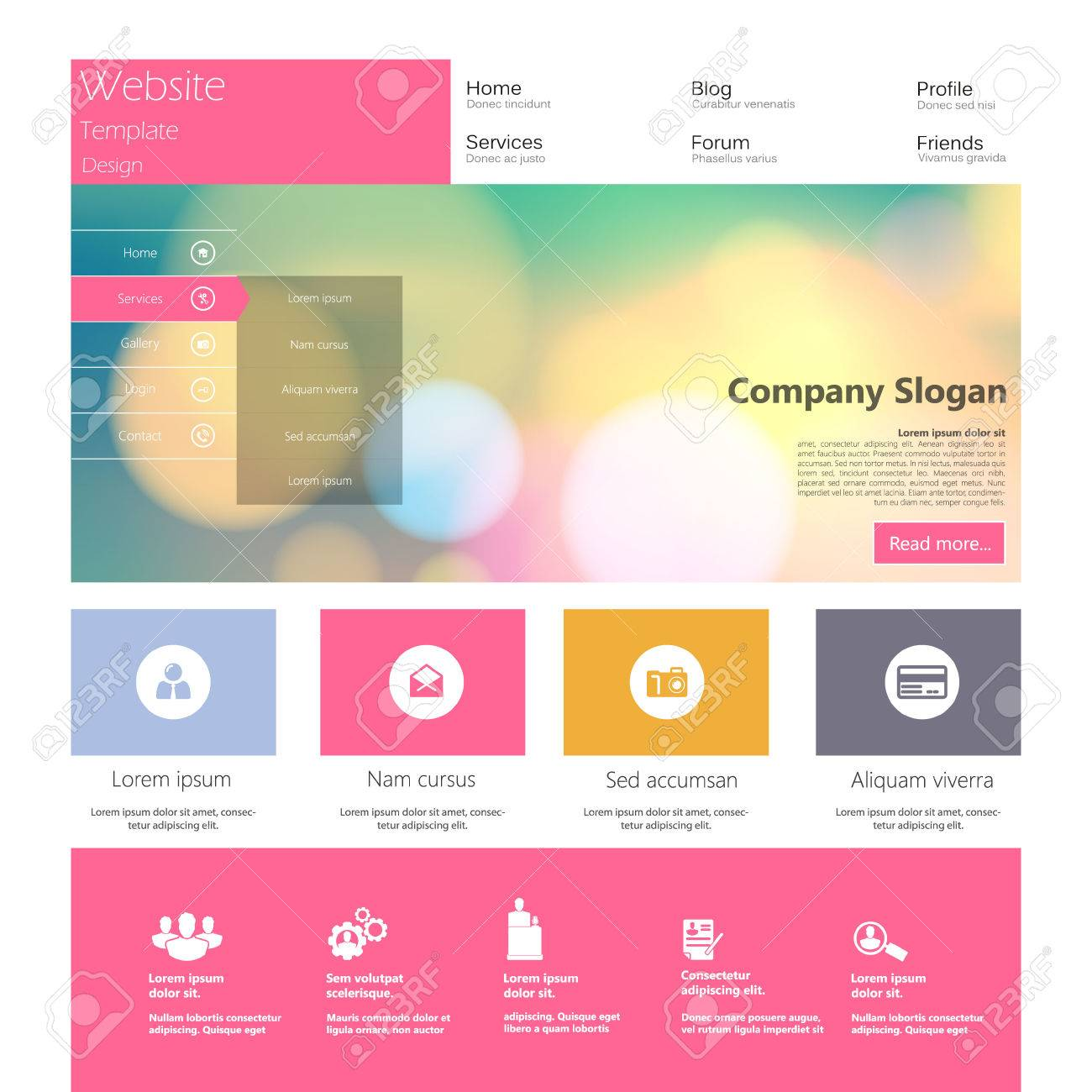 Flat Colorful Website Template Design Royalty Free Cliparts Vectors - Graphic design website templates