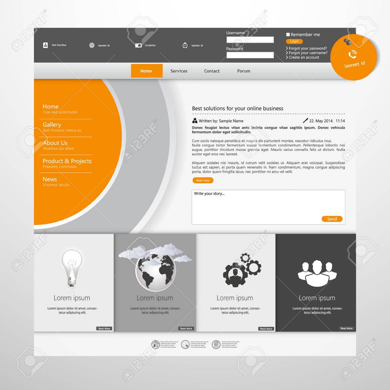 Orange And Grey Business Website Template Royalty Free Cliparts ...