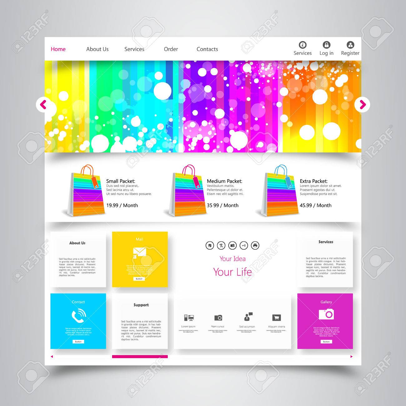 Colorful Website Template With Clean Modern Design And Gallery ...