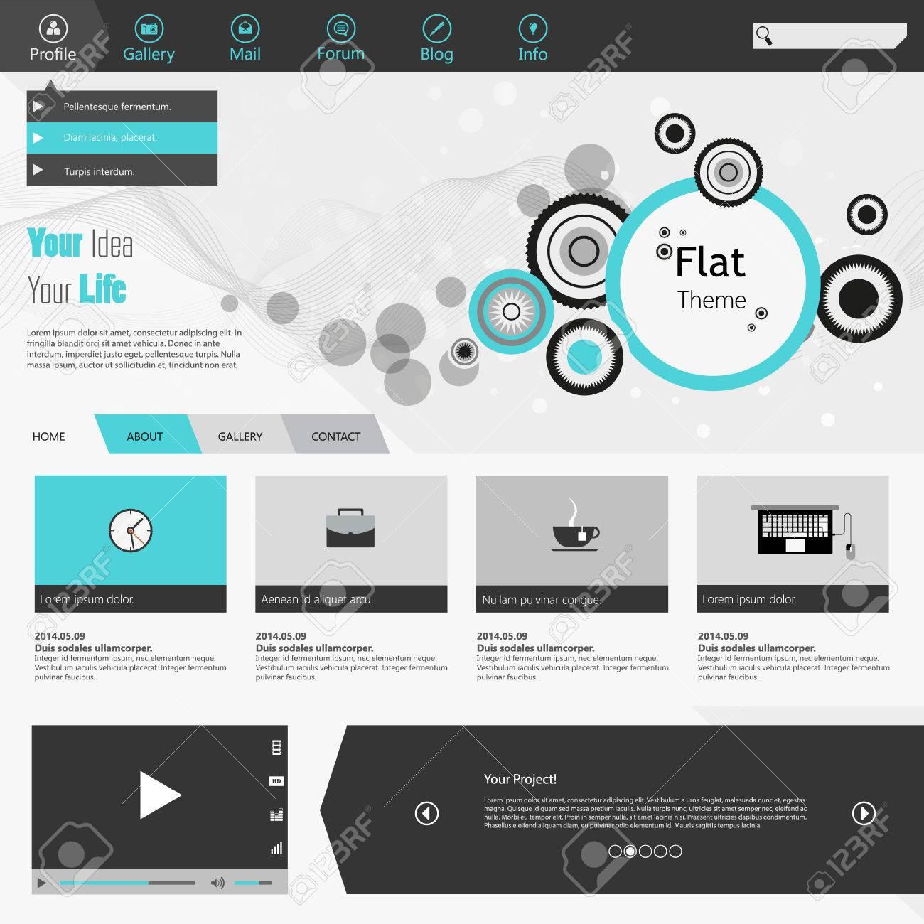 Flach Web Design, Elemente, Schaltflächen, Symbole. Vorlagen Für Die ...