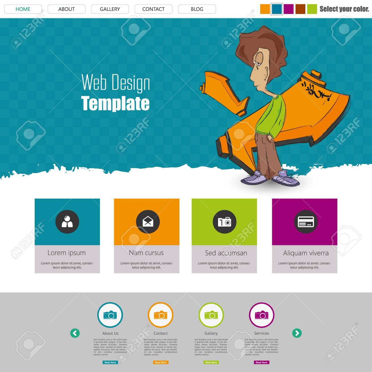 Diseño Web Flat, Elementos, Botones, Iconos. Plantillas Para El ...