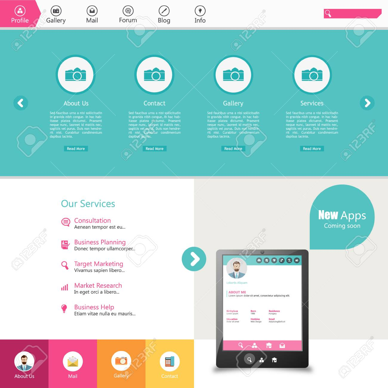 Flat Web Design, Elements, Buttons, Icons. Colorful Templates ...
