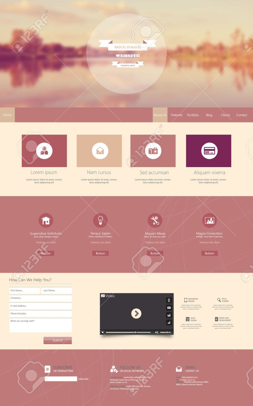 One Page Website Template With A Retro Vintage Instagram Colors ...