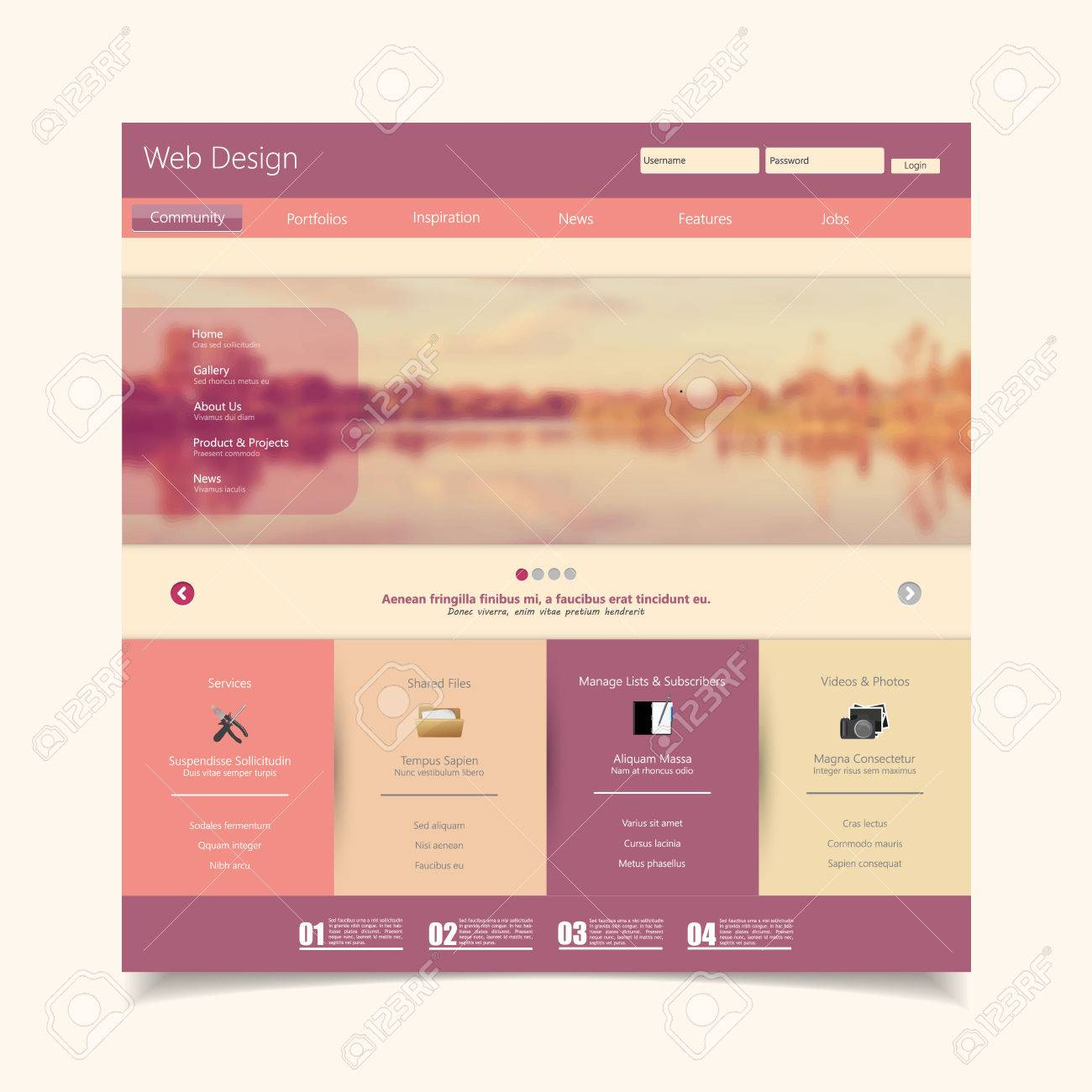 Website Template With A Retro Vintage Colors, Filter, And Blurred ...