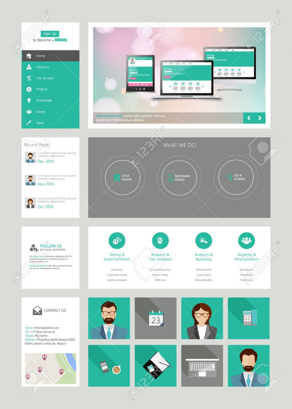 One Page Website Design Template In Flat Design Style Royalty Free ...