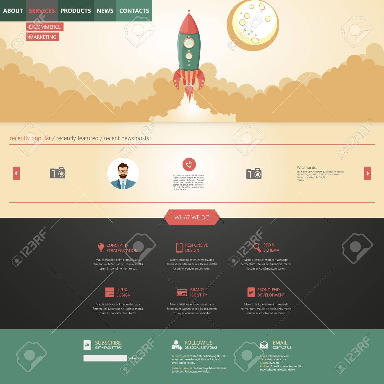 Flat Design Style Website Template With Rocket Retro Spaceship ...