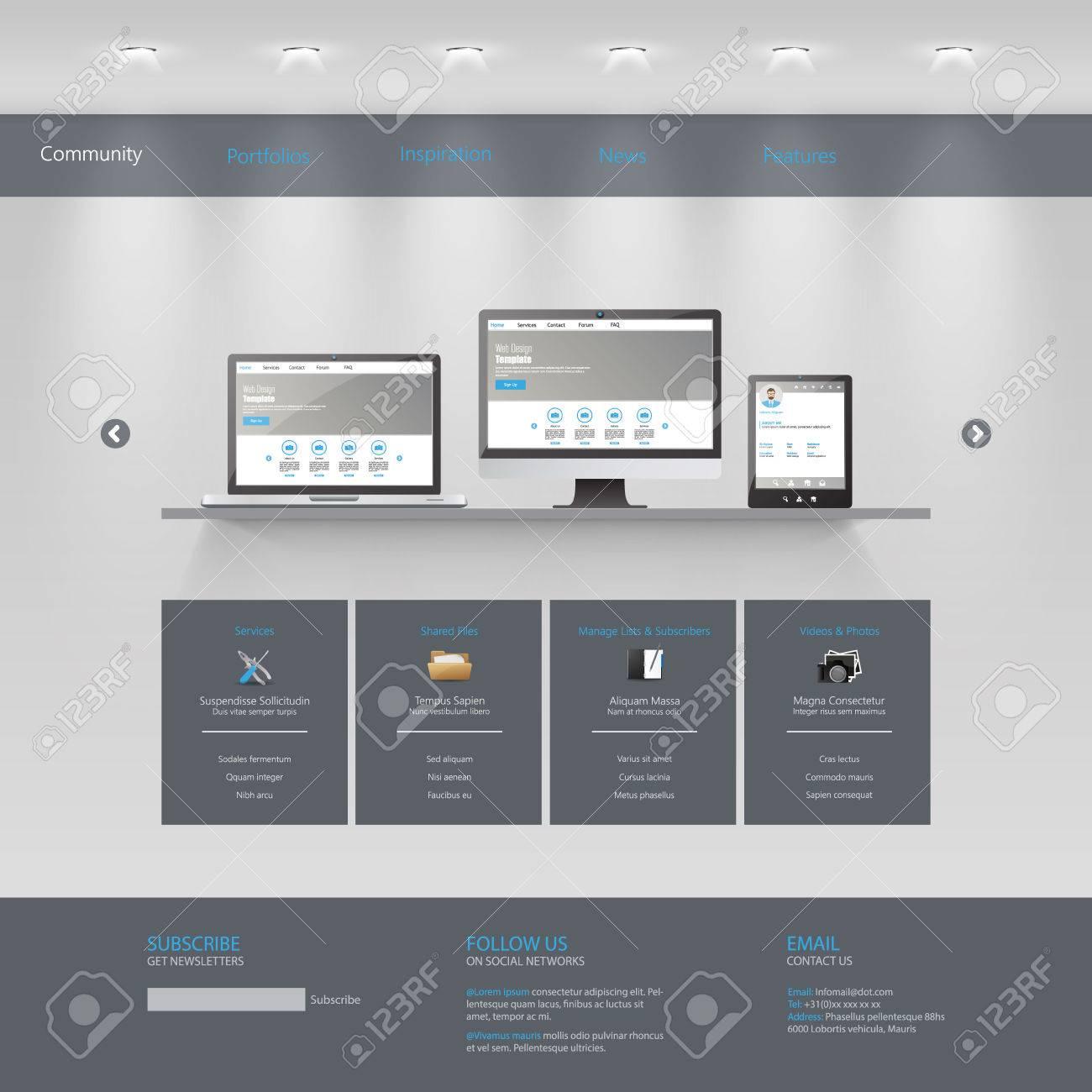 Plantilla De Sitio Web, / Galería Tema / Ilustraciones Vectoriales ...
