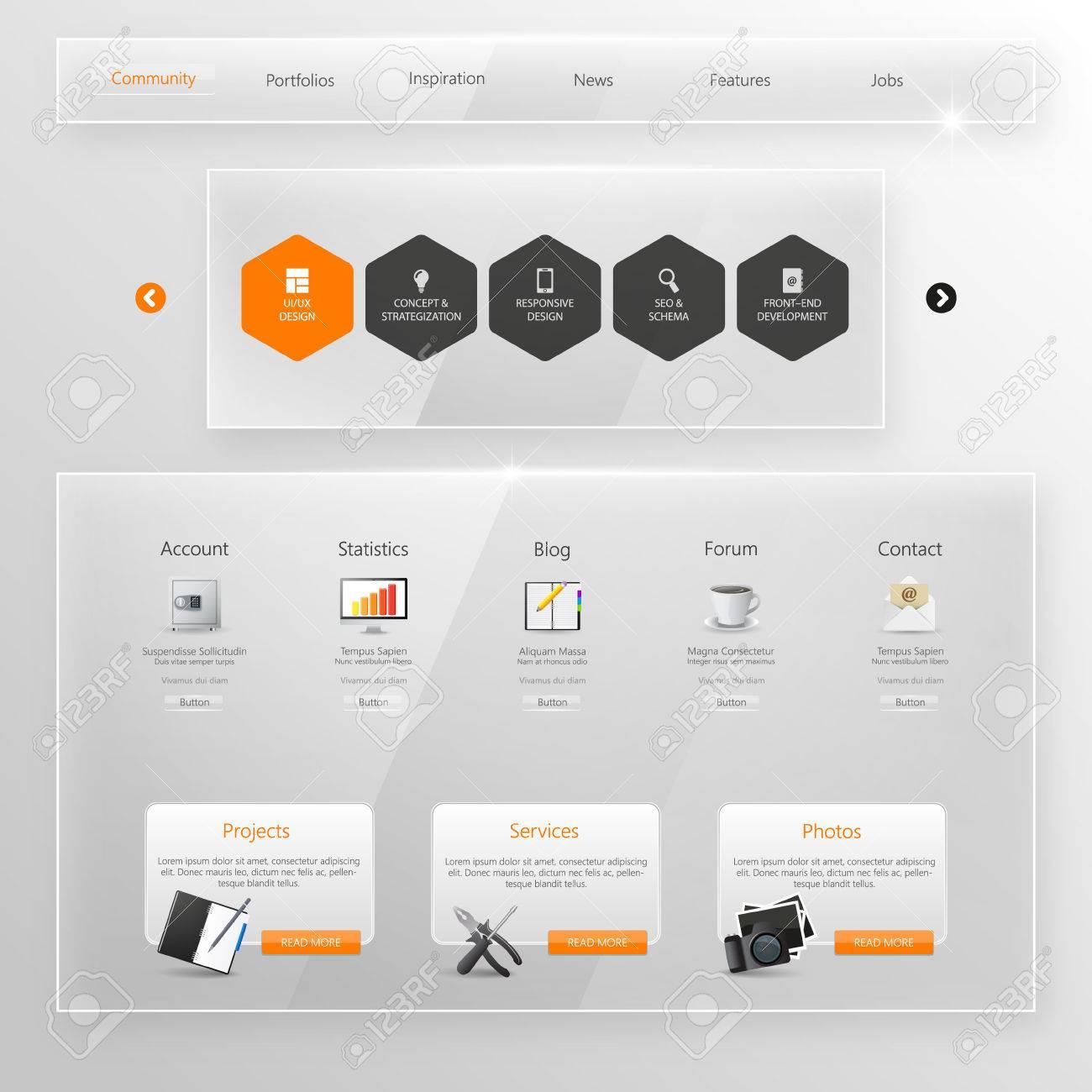 Website Template, Glass Transparent Minimalistic design with