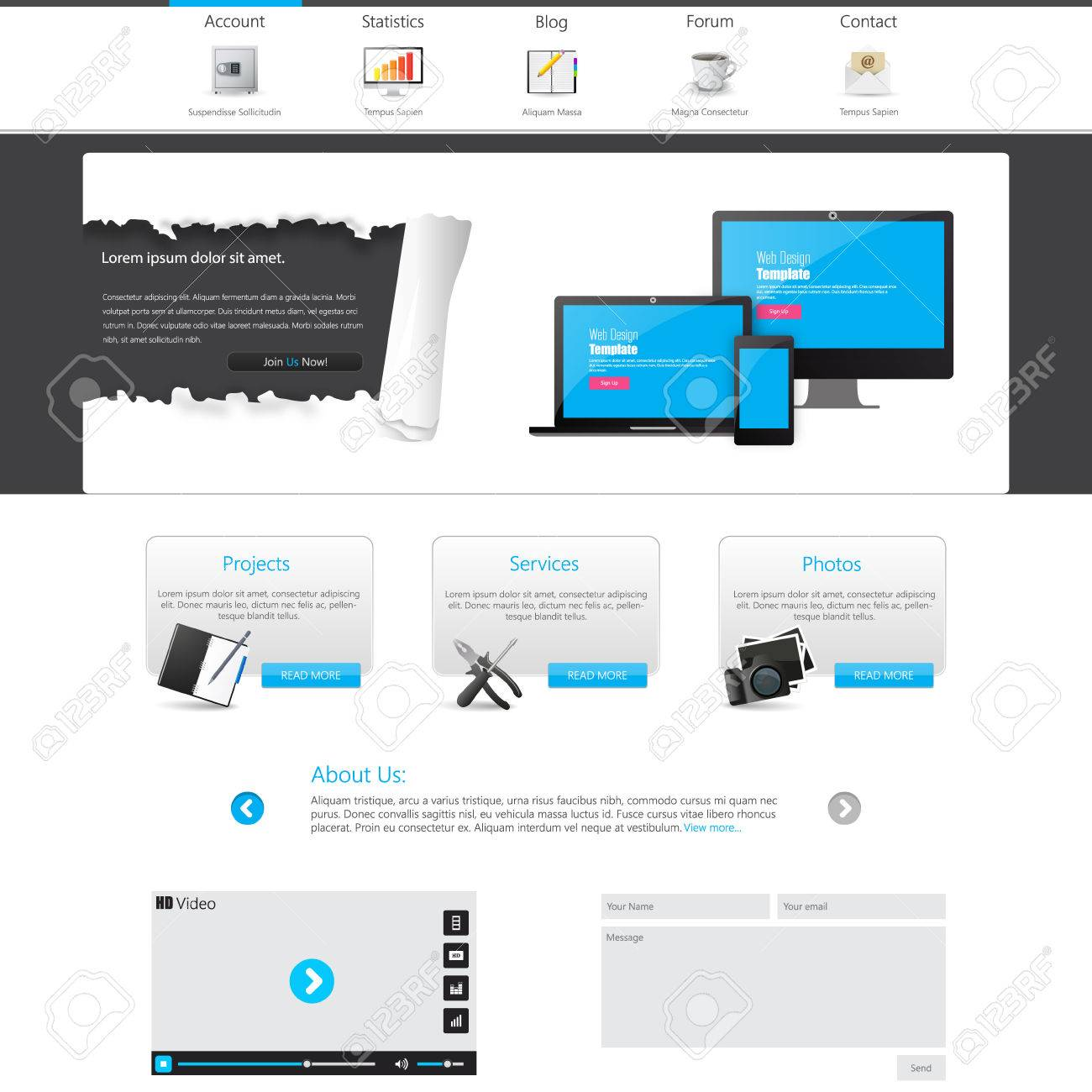 Blue business website template with ripped paper home page blue business website template with ripped paper home page design clean and simple accmission Image collections