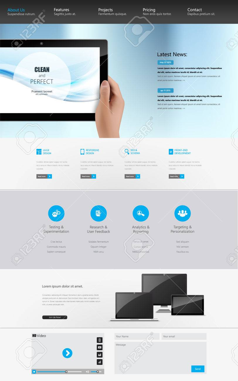 Modern Clean One Page Website Design Template. All In One Set ...