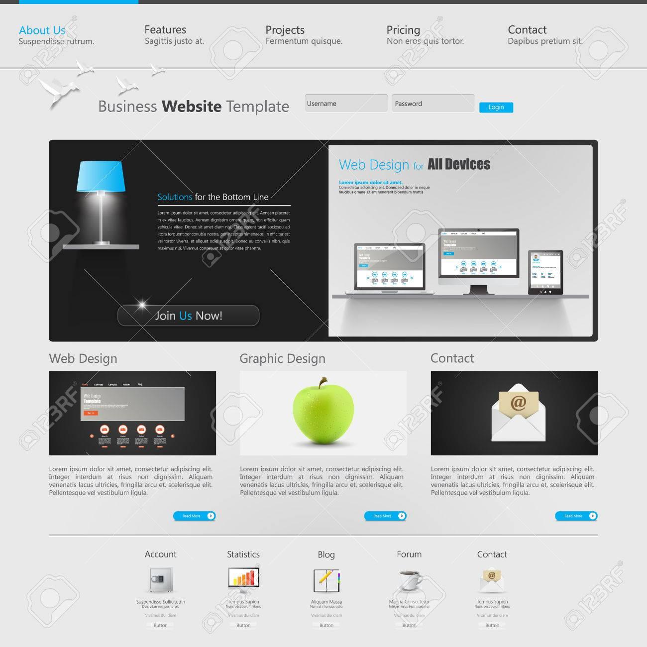 Website Design Template. Creative Web Design, With Realistic ...