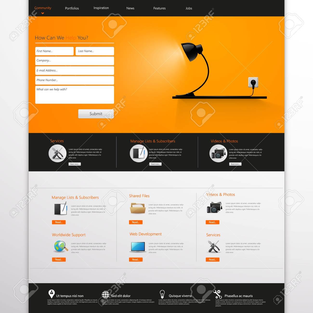 Website template vector illustration orange and black color website template vector illustration orange and black color business theme stock vector cheaphphosting Gallery