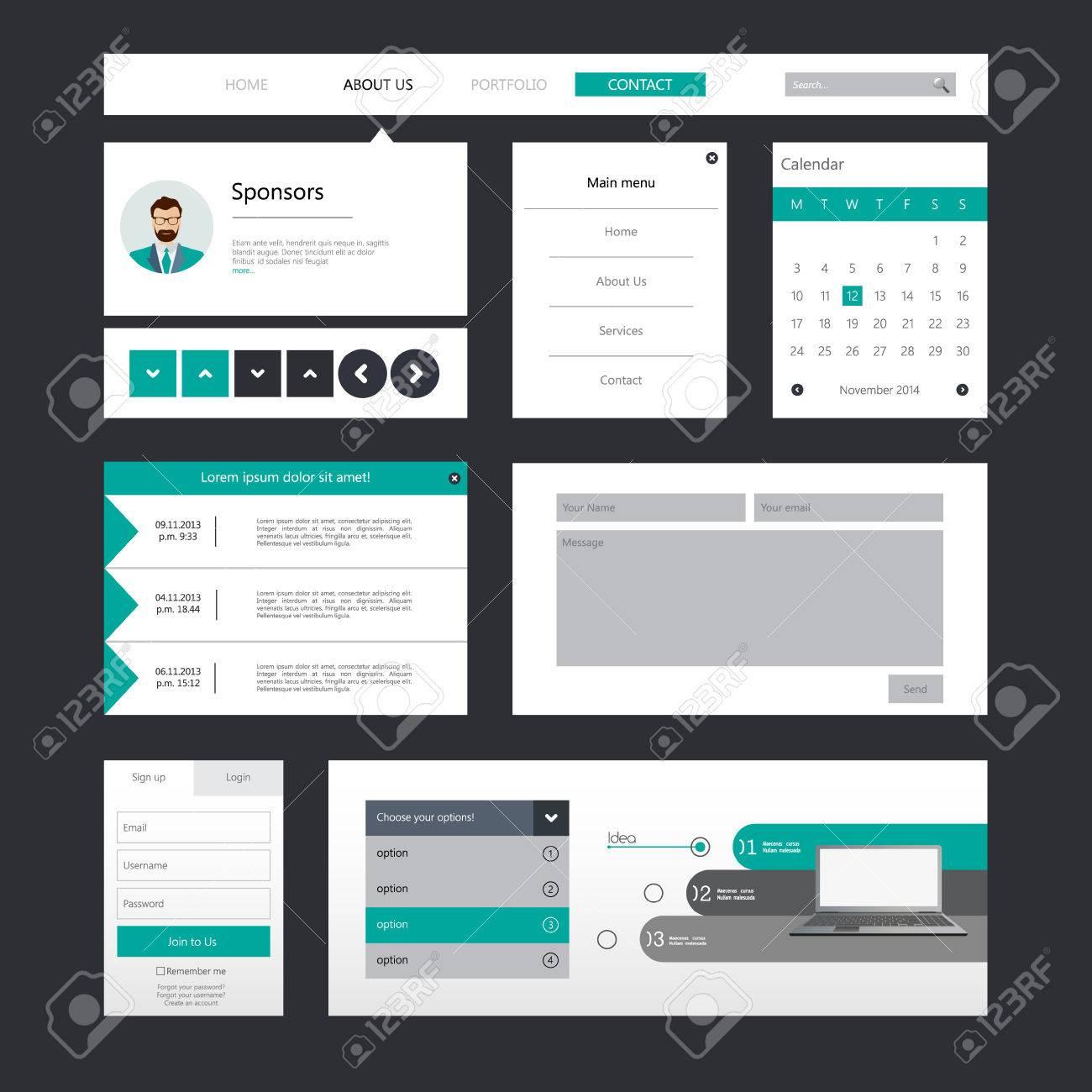 Conjunto De Piso / Ui Web Diseño, Elementos, Botones, Iconos ...
