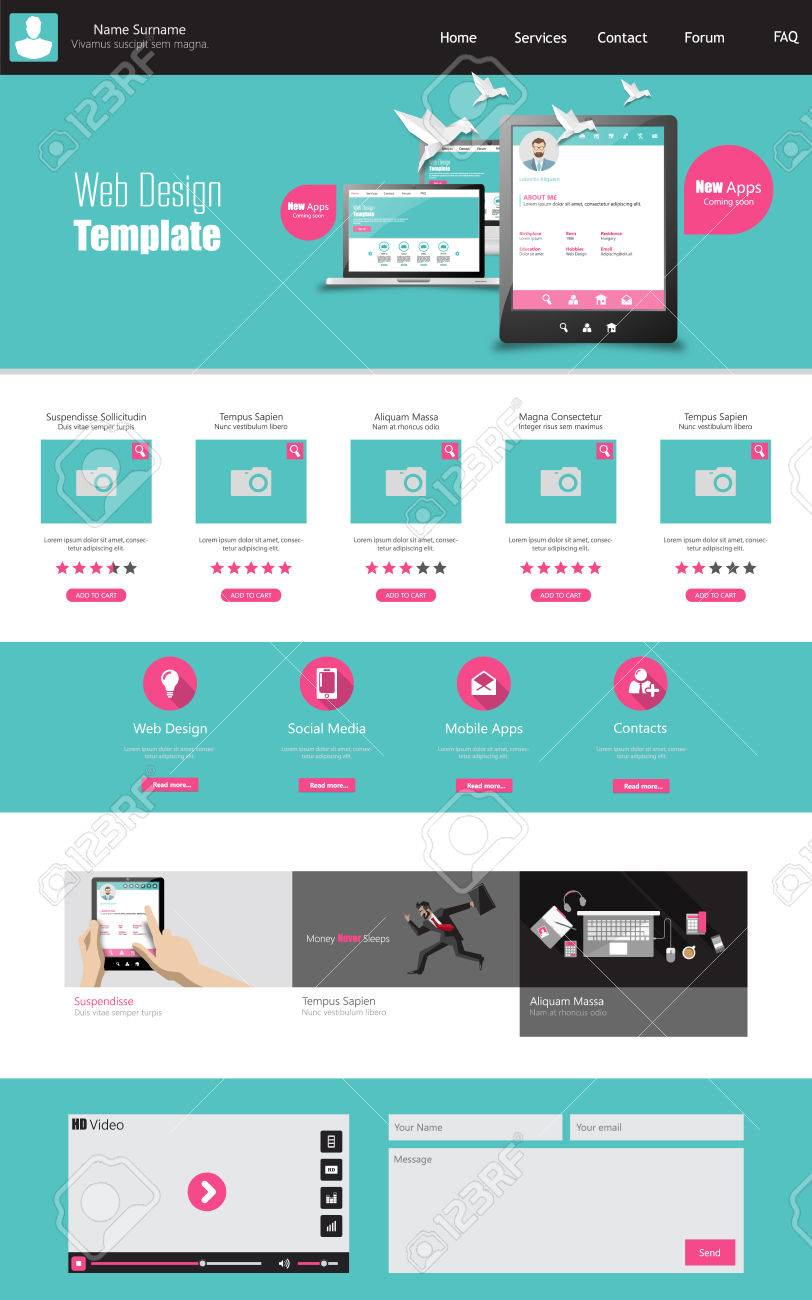 One page business website template home page design clean one page business website template home page design clean and simple vector illustration wajeb Choice Image