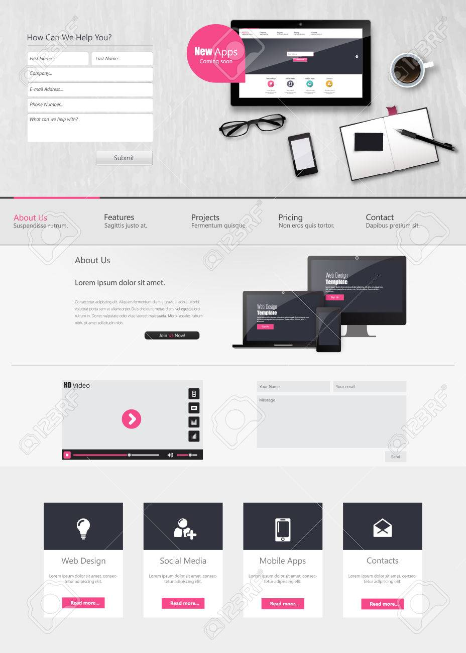 Website Template Vector Design With Realistic Still Life ...