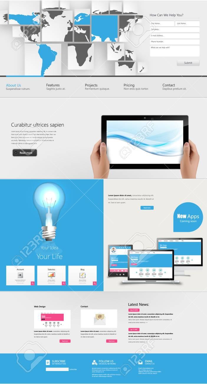 Moderne Reinigen Eine Seite Website-Design-Vorlage. Alles In Einem ...