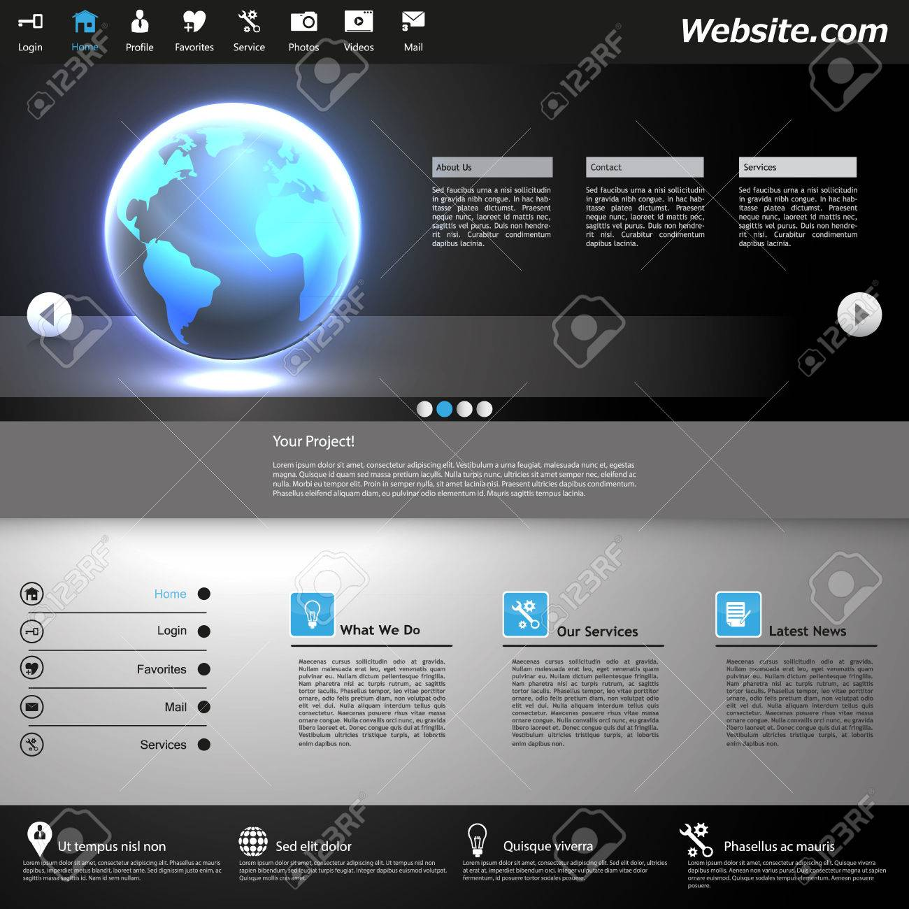Professional Website Design Dark Template Royalty Free Cliparts ...