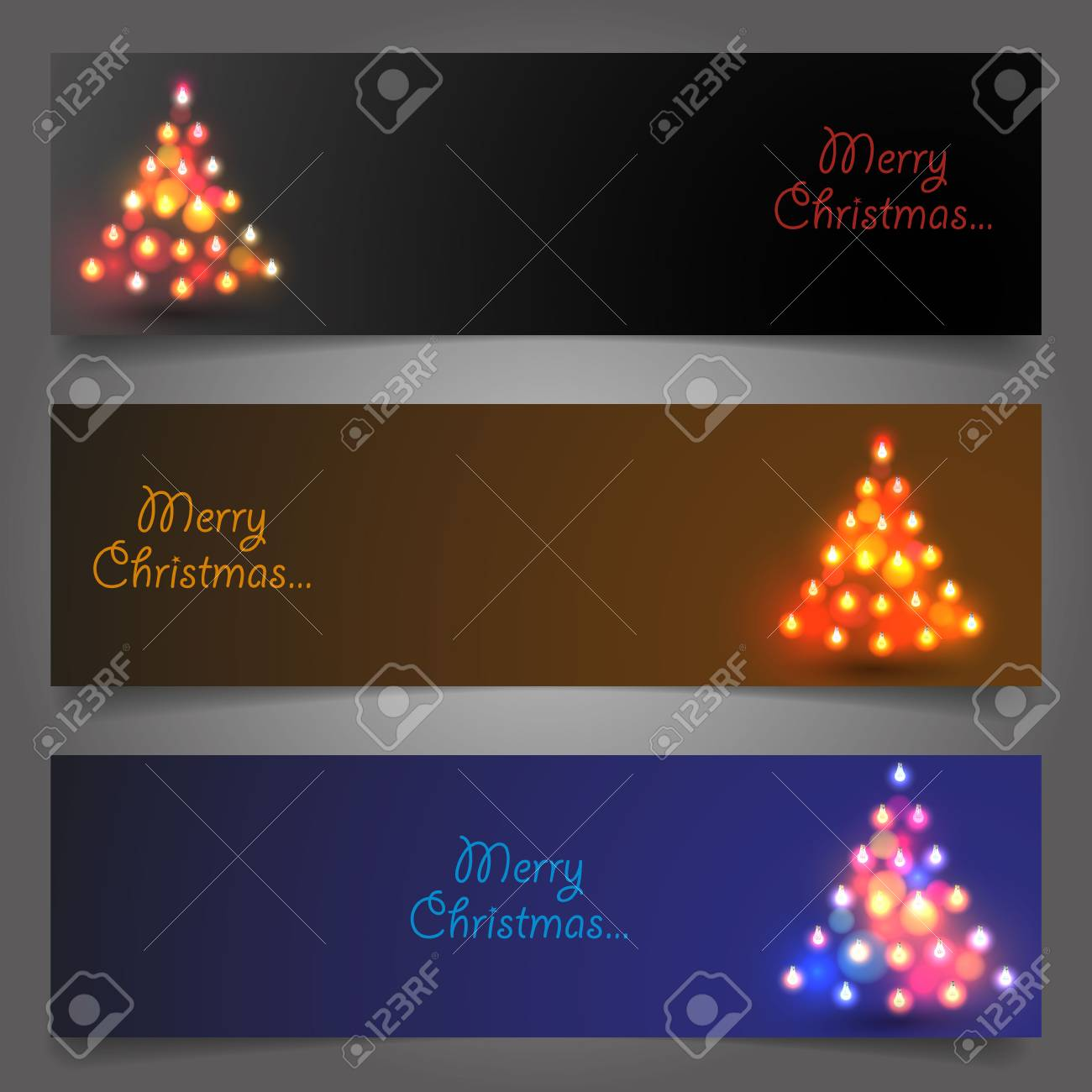 Set Of Elegant Christmas Banners Vector Illustration Royalty Free
