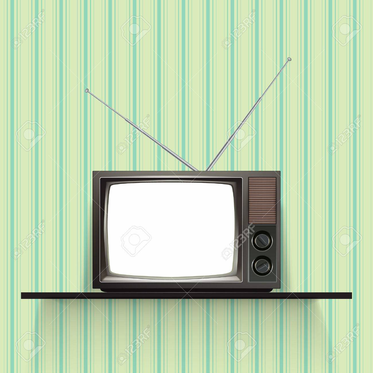 Blank Retro Tv With Vintage Wallpaper Realistic Vector Illustration Stock