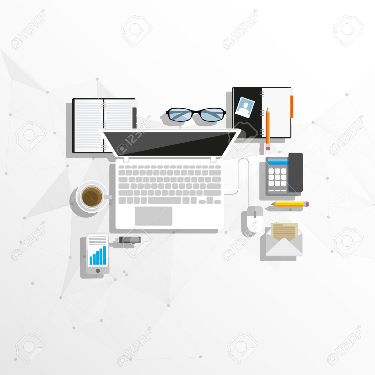 creative furniture icons set flat design. Flat Style Modern Design Concept Of Creative Office Workspace. Icons Collection Business Work Flow Furniture Set