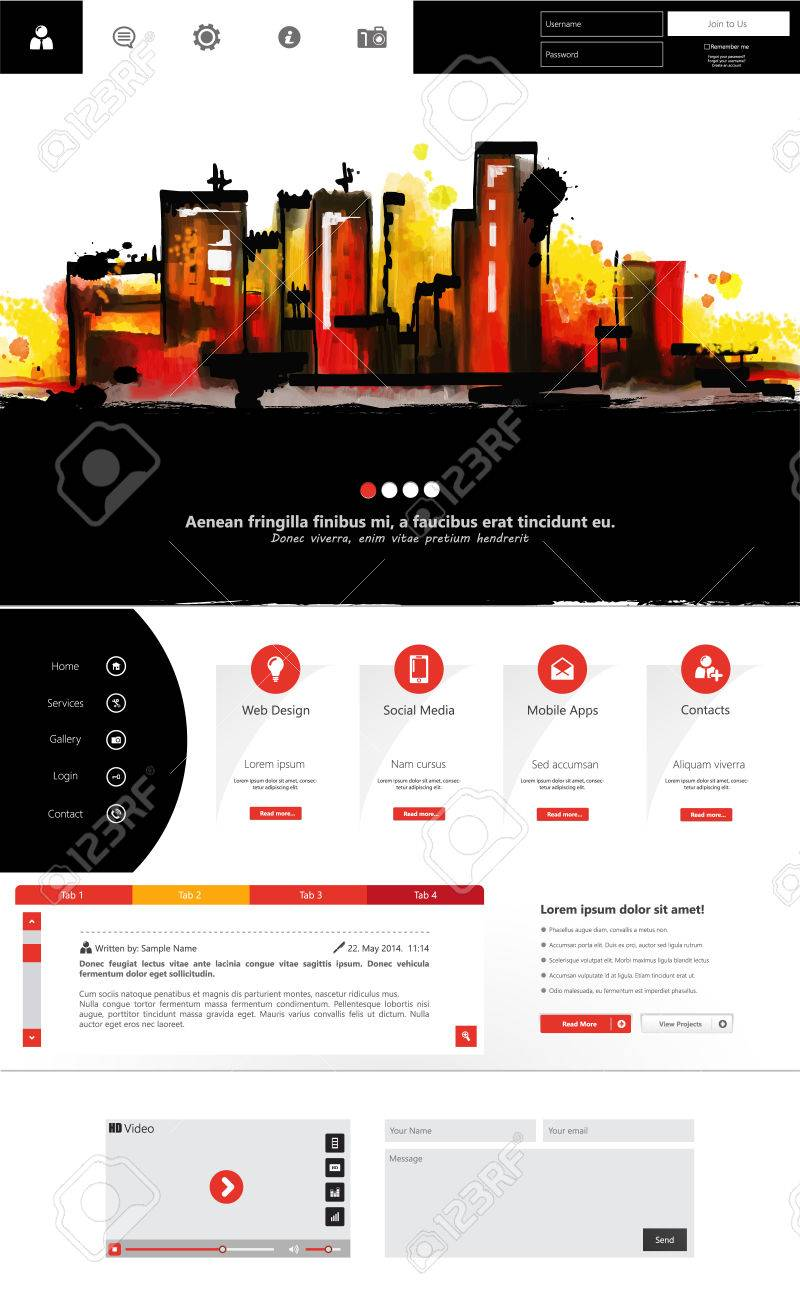 Abstract Creative Concept Vector One Page Website Template ...