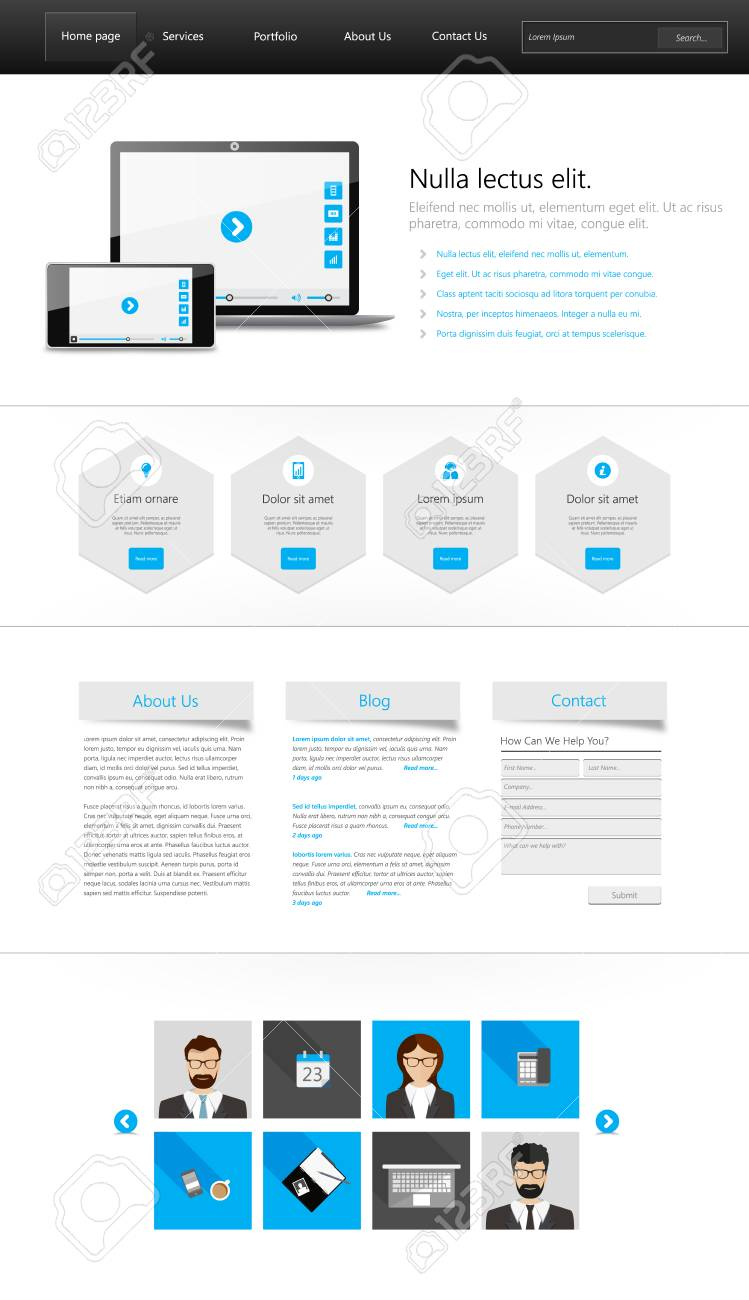 Website Interface Template - One Page And Set Of Buttons And ...