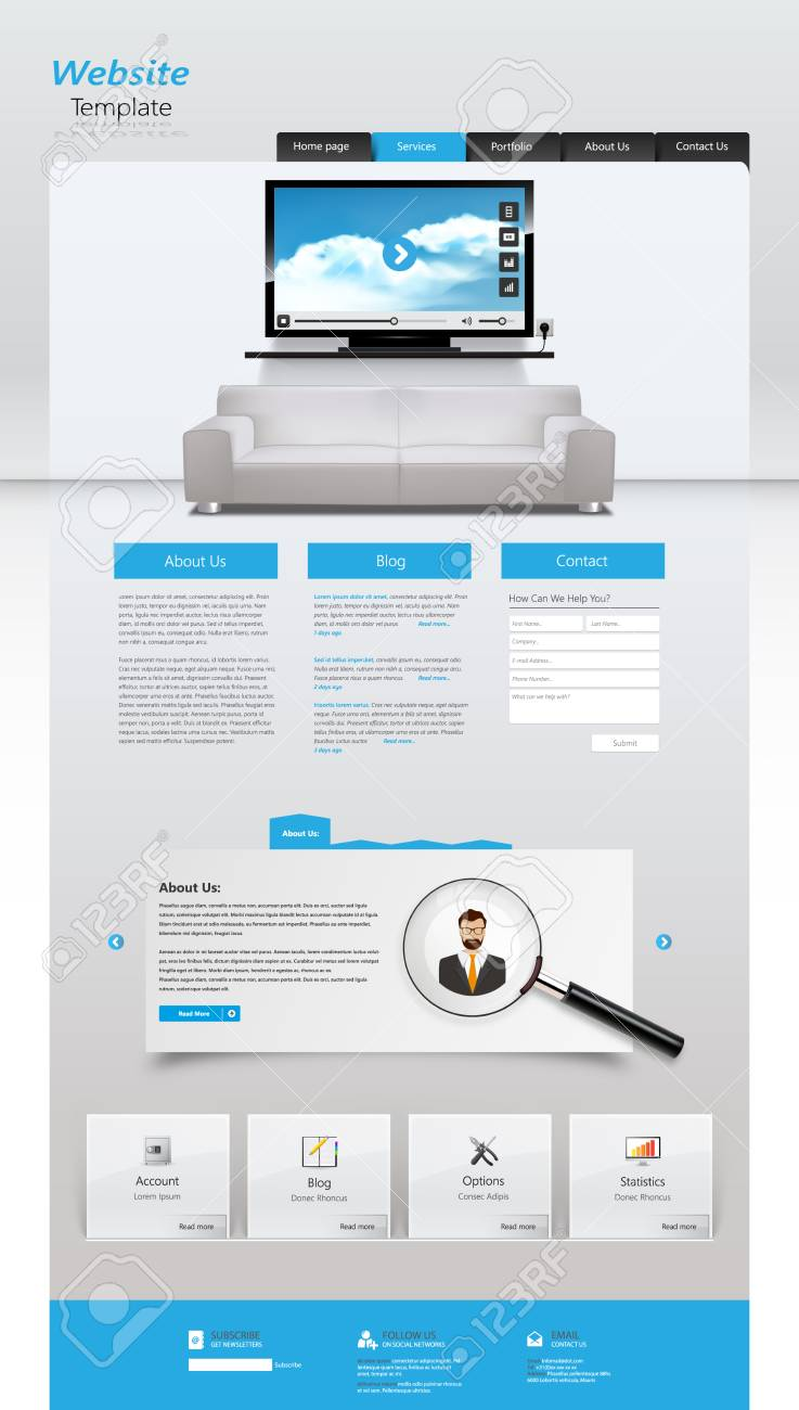 One Page Website Design Template All In One Set For Website