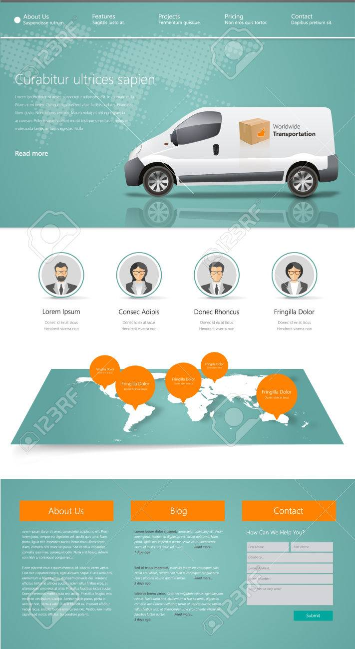 Business Website Design Template Vector Illustration. One Page ...