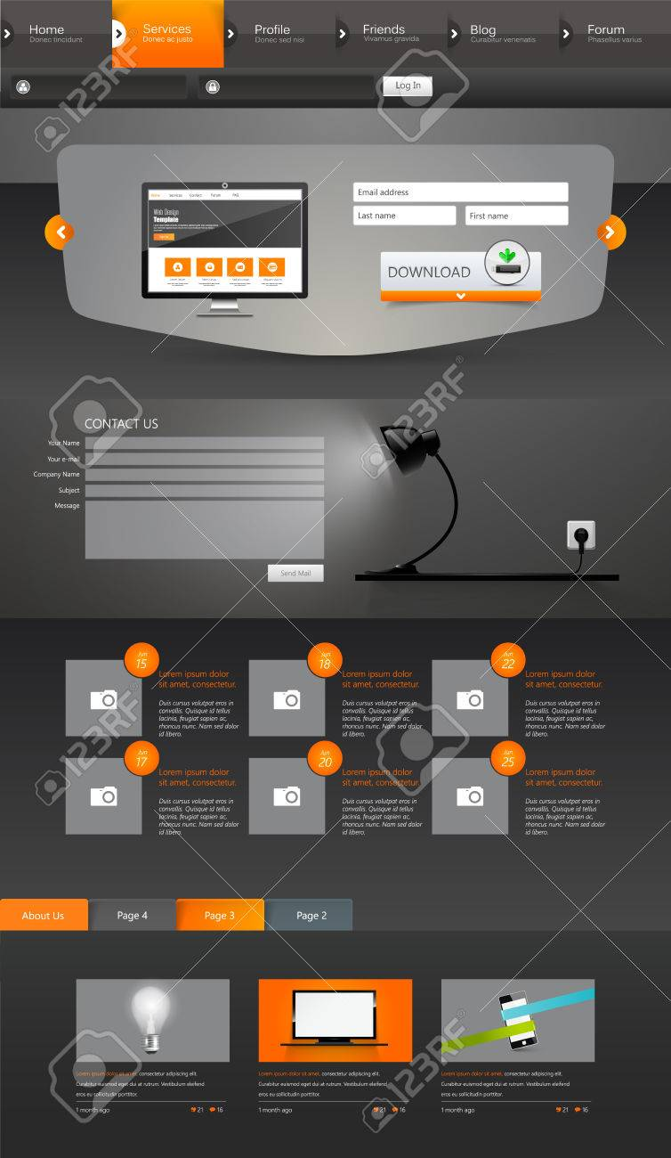 Modern Style One Page Website Design Templates In Dark Color Royalty ...