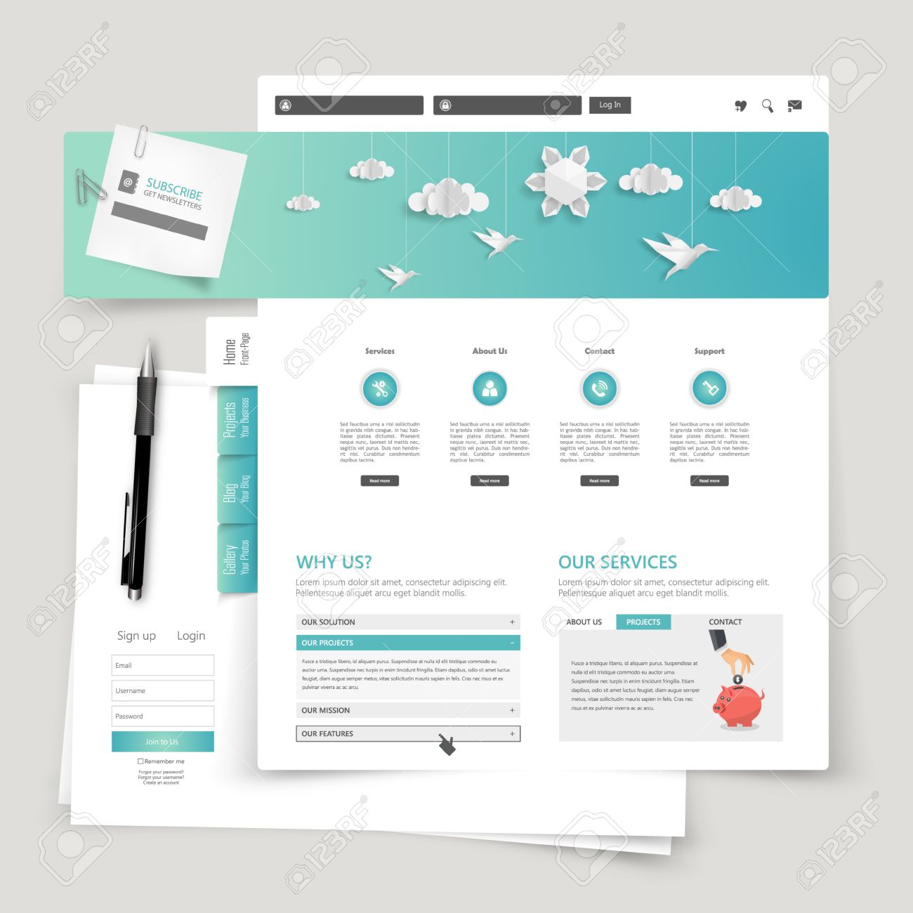 modern creative website design template royalty free cliparts