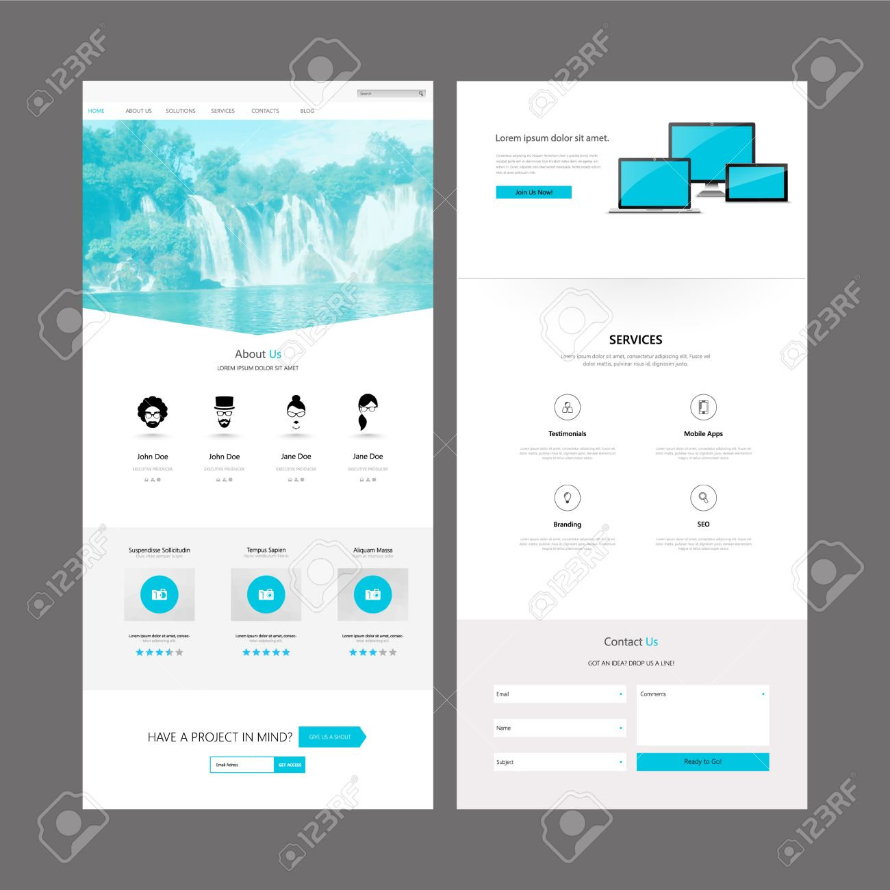Modern Clean One Page Business Website Design Template. Vector ...