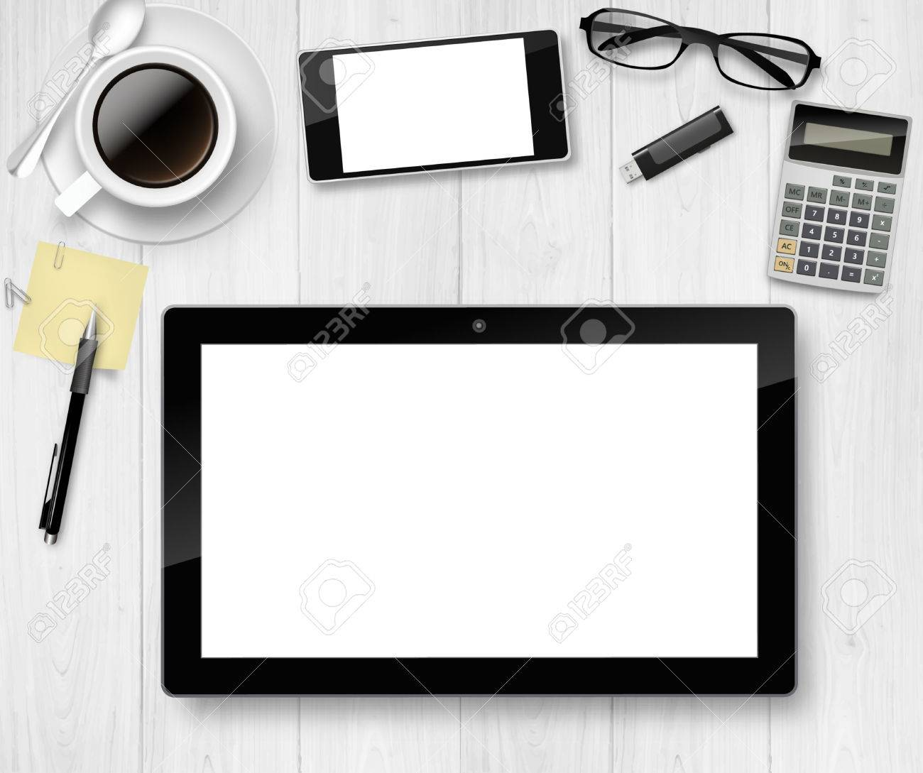 top office table cup. Top Vector Office Table With Cup Of Coffee, Pencil, Tablet, And Phone. K
