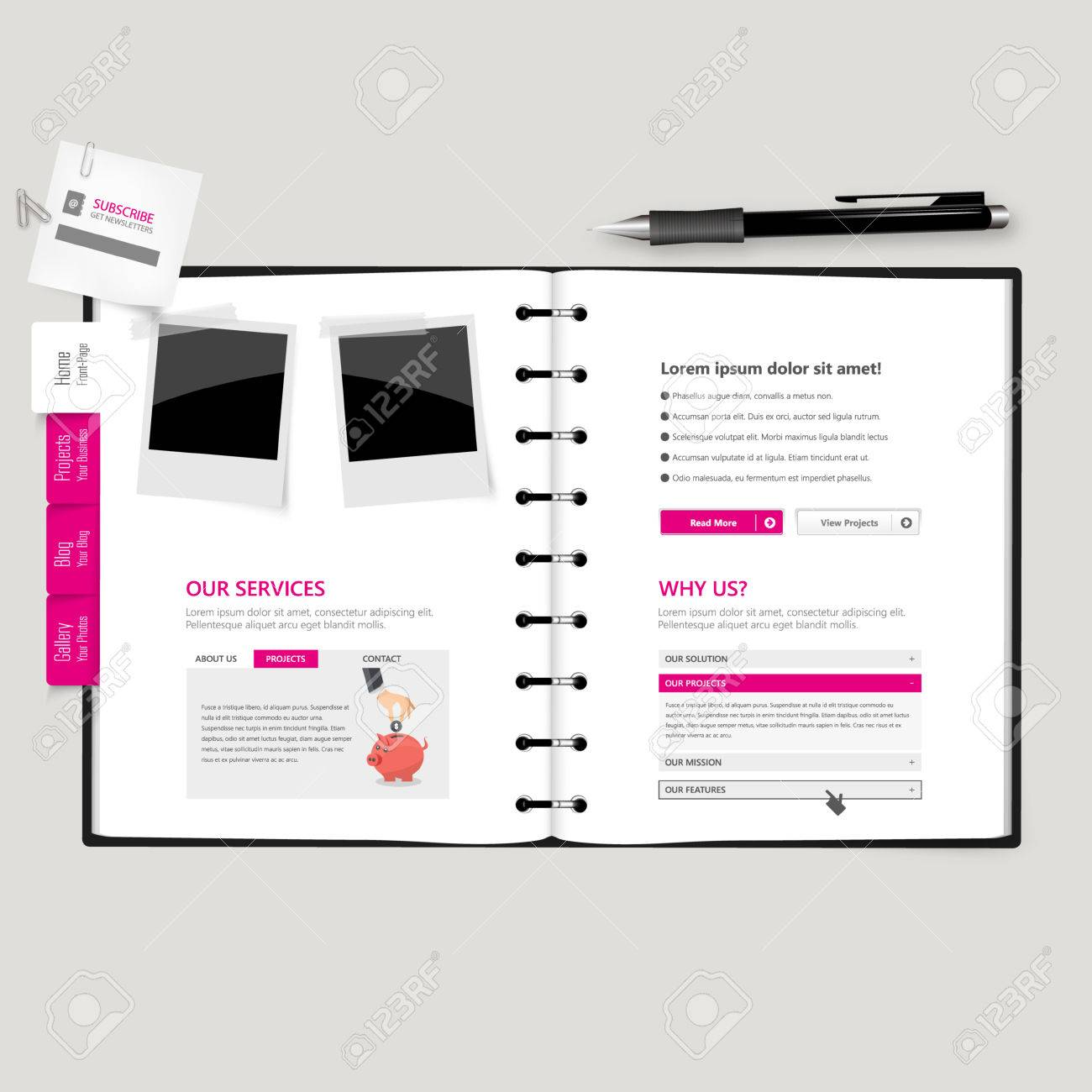Website Template Open Notepad With Bookmarks Royalty Free Cliparts ...