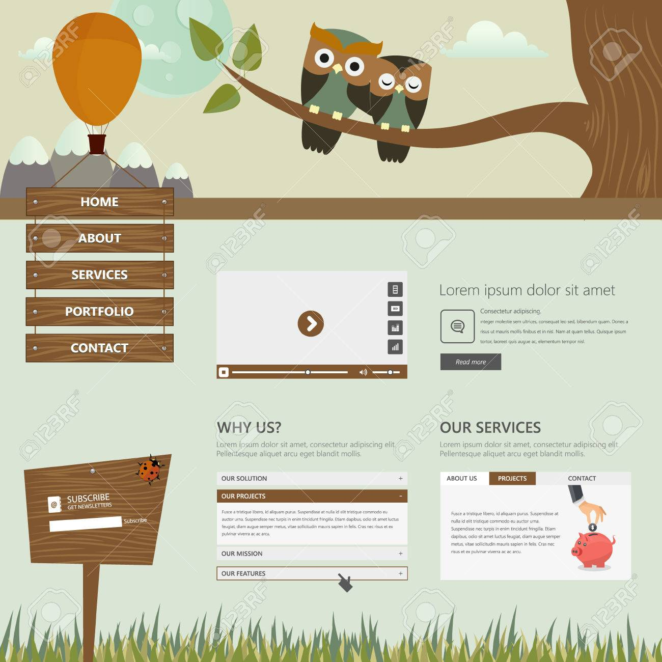flat creative website templates with cute owls illustration