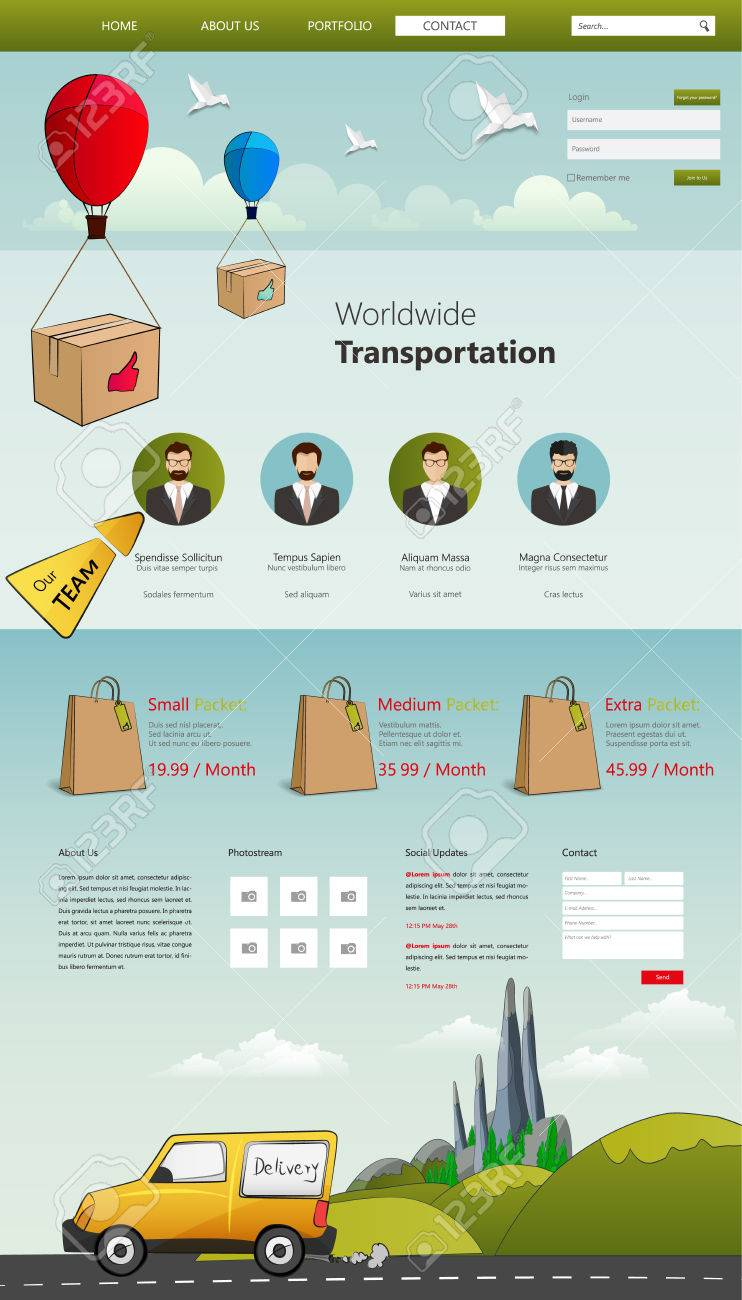 Website Template with Cartoon elements, for logistics business