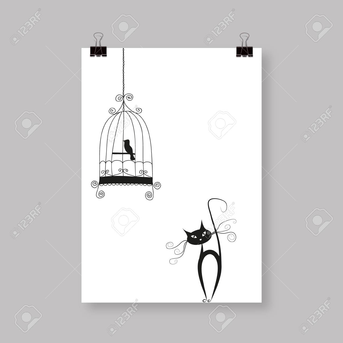 Hand Draw Abstract Cat And Bird. Online Flyer, Or Cover Design ...
