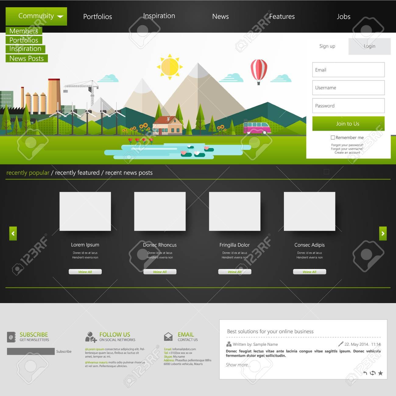 Modern Eco Website Template With Eco Flat Landscape Illustration ...